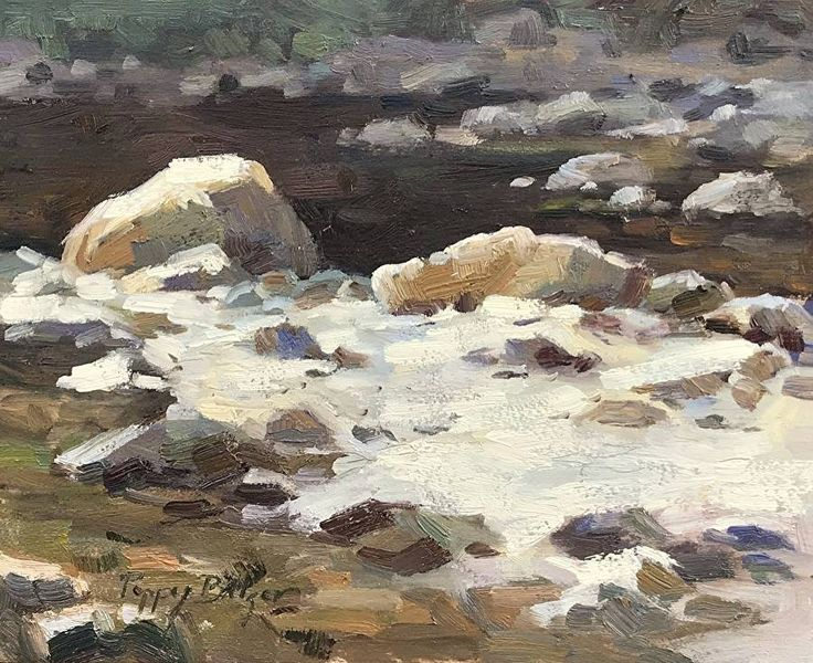 Boulders in the Stream by Poppy Balser Oil ~ 8 x 10