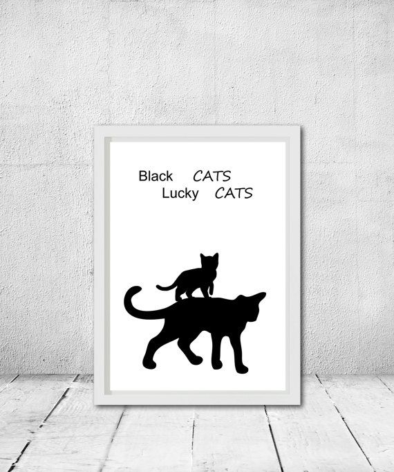 Pet printable art Kid's room decor Lucky cats by CleverCatQuotes – ETSY Finds:))