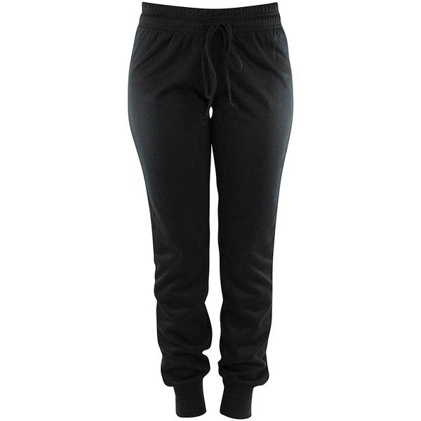 Black Drawstring Ladies Jogger Exercise Sweatpants ($20) ❤ liked on Polyvore featuring activewear, activewear pants, bottoms, pants, black, sweat pants, cuffed sweatpants, elastic cuff sweatpants, jogger sweatpants and drawstring sweat pants