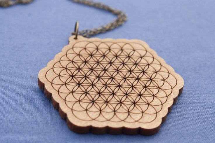 Flower of life necklace on recycled cedar venetian blinds - $30