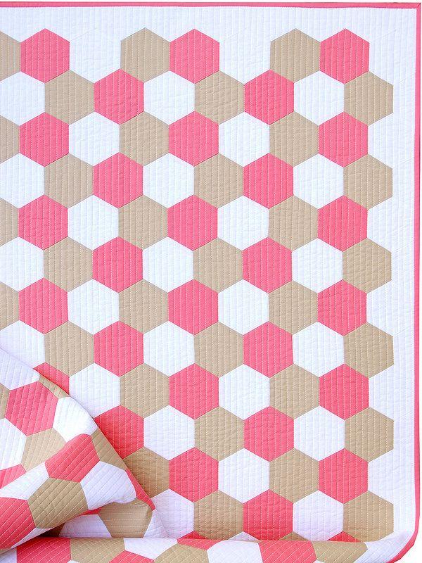 A Pink Flamingo Hexagon Quilt