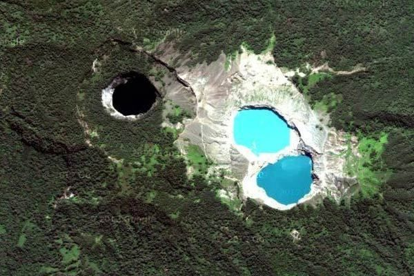 aerial view of the three crater lakes on the eastern summit of Mt Kelimuti, Indonesia