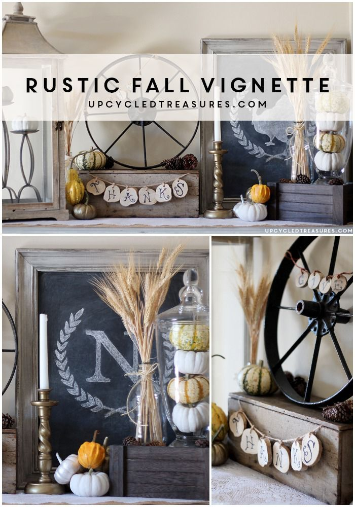 Rustic Fall Vignette using thrifted items and elements of nature | upcycledtreasures.com #fall #mantel