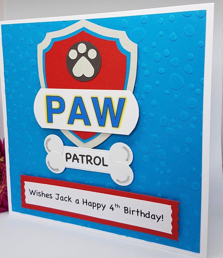Personalised Paw Patrol Birthday Card Handmade BD60 by BrightCraftBySharon on Etsy