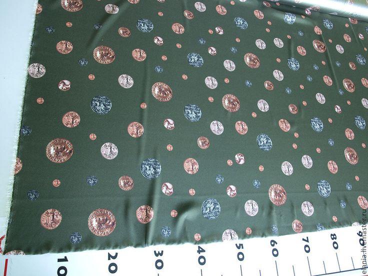 """Купить Шелк DOLCE&GABBANA """"Монеты"""" зеленый - шелк, блузка, ткань, ткани, ткань для шитья"""