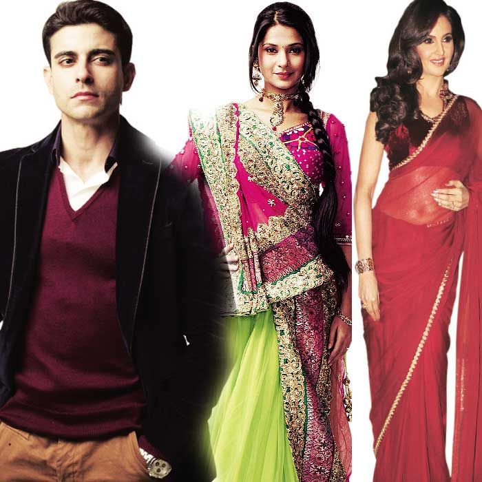Jennifer Winget (centre) who hails from a rangrez family will be seen wearing ethnic clothes like the lehanga, bandhani outfits, chanya choli, etc. Gautam Rode (left) will initially be seen in western outfits but the actor will be seen wearing traditional outfits like dhoti and kurta. Monica Bedi (right), who plays the wife of a rich businessman and Rode's stepmother will be draped in elegant sarees.