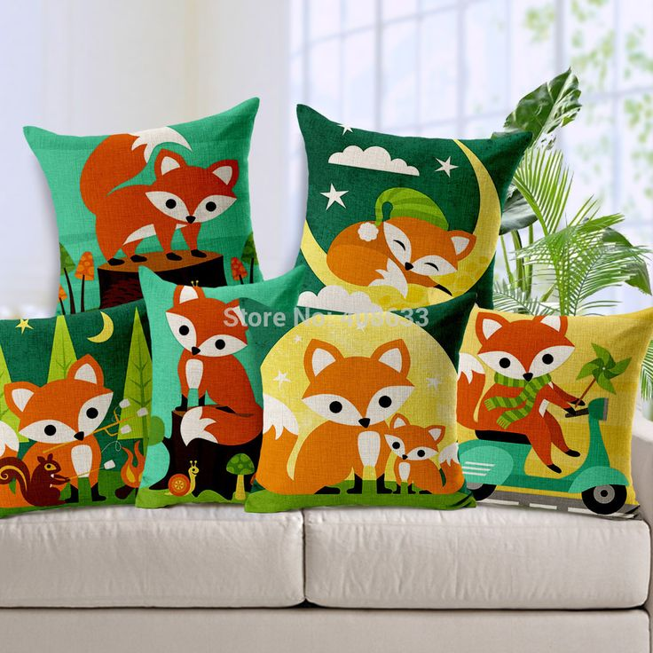 Cute cartoon animaux renard roux motif. taie d'oreiller coussin de coton linge de maison décoratifs./housse de coussin de sofa/chaise./voiture