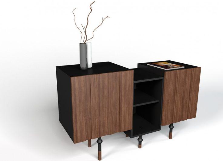 Sfalsato è un mobile contenitore che da spazio alla flessibilità compositiva per i singoli moduli che presentano tre diverse altezze. Sfalsato è disponibile in finitura laccata opaca o in noce canaletto.