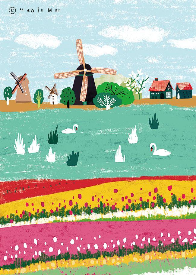 Netherlands,Holland,travel, traveling, trip, tour, journey,illustration,illust,illustrator,windmill,tulip