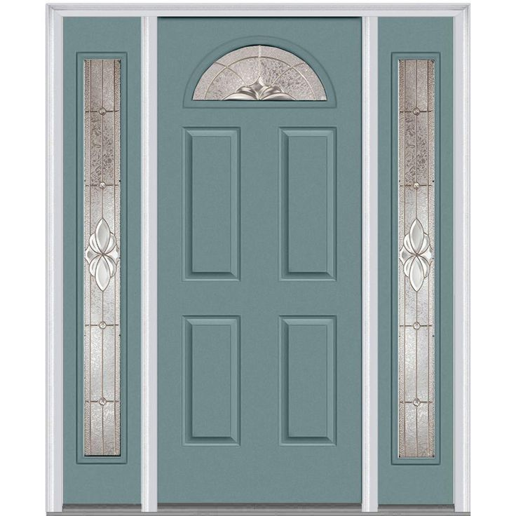 Milliken Millwork 68.5 in. x 81.75 in. Heirloom Master Decorative Glass 1/4 Lite Painted Majestic Steel Exterior Door with Sidelites, Riverway