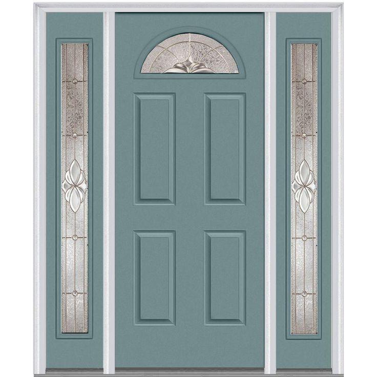 Milliken Millwork 68.5 in. x 81.75 in. Heirloom Master Decorative Glass 1/4 Lite Painted Majestic Steel Exterior Door with Sidelites, Riverway