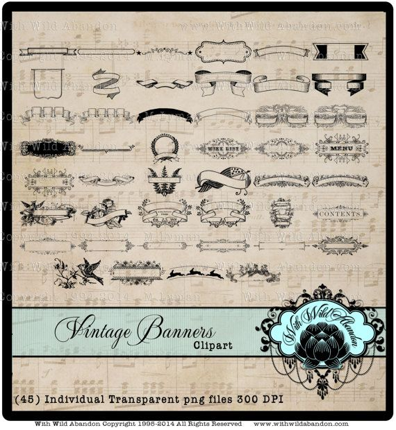 Digital Banner Clipart, Ornate Banner Elements, Ornate Banner Overlays, by withwildabandon. Explore more products on http://withwildabandon.etsy.com