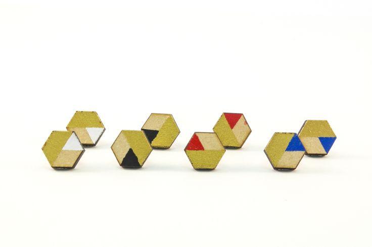 Wooden Stud Earrings | Handmade Painted Hexagon Gold Edition Geometric Shape Earrings