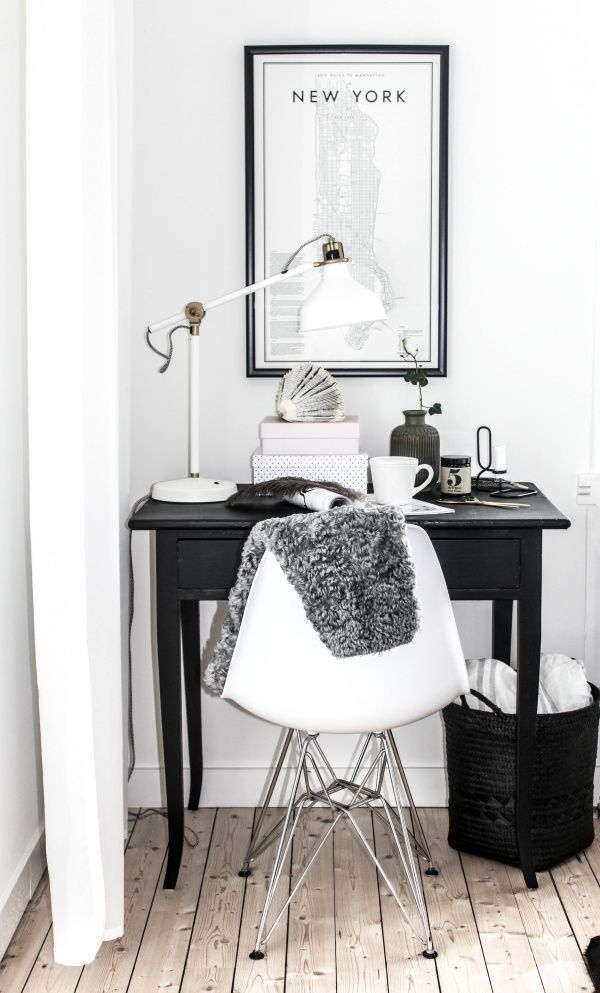 Small black and white workspace