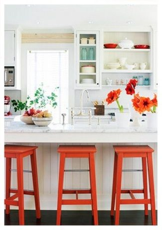white kitchen / open cabinets