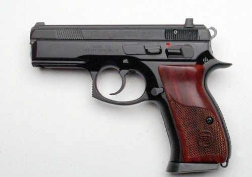 "There is something really nice about a black gun and wood grips.  CZ 75 COMPACT CUSTOM 14+1 9MM 3.8"" Night Sights $932.00 SHIPS FREE, but for the standard gun it is about $450."