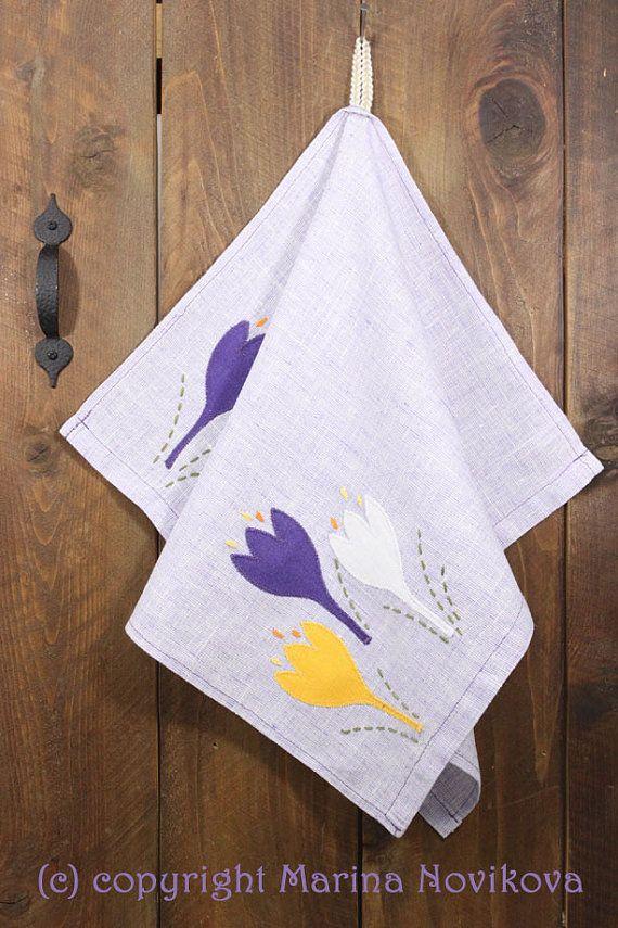 Unique Natural Linen 'Crocuses' Purple Kitchen OOAK by FlaxyPlanet, $16.00