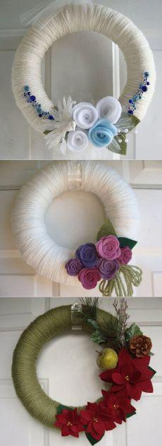 Осенние венки с цветами из фетра. Идеи для вдохновения