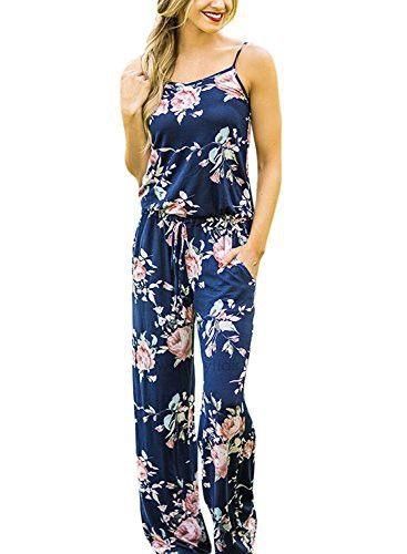 d75b4461264b Women Sleeveless Floral Print Casual Jumpsuit Dress (L