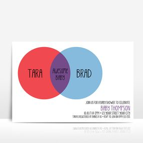 Venn diagram red and blue baby shower invitation