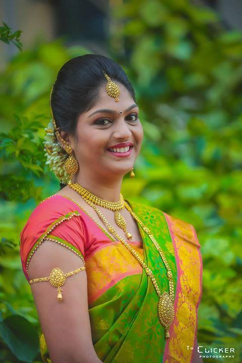 South Indian bride. Kanchipuram silk sari.
