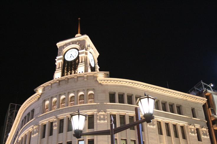 Beautiful Ginza shopping street at night. Ginza is knows as most expensive district similar to 5th avenue  of NYC.
