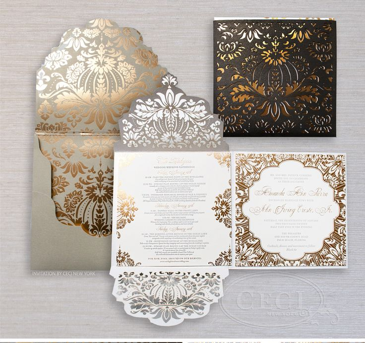 Luxury Wedding Invitations By Ceci New York   Our Muse   Gold And Black  Wedding At