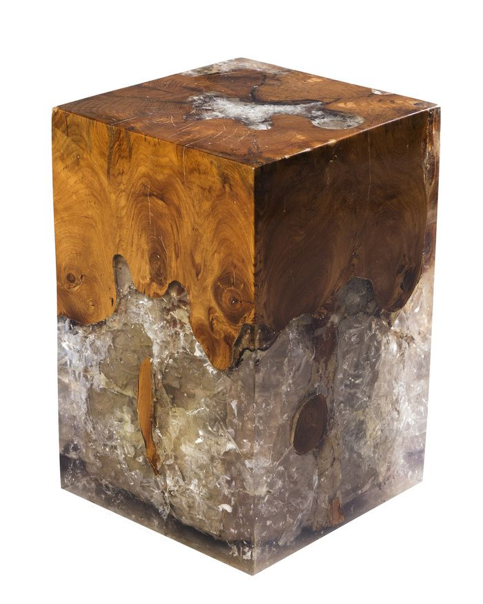 Salvaged Teak And Cracked Resin Block Stool Design