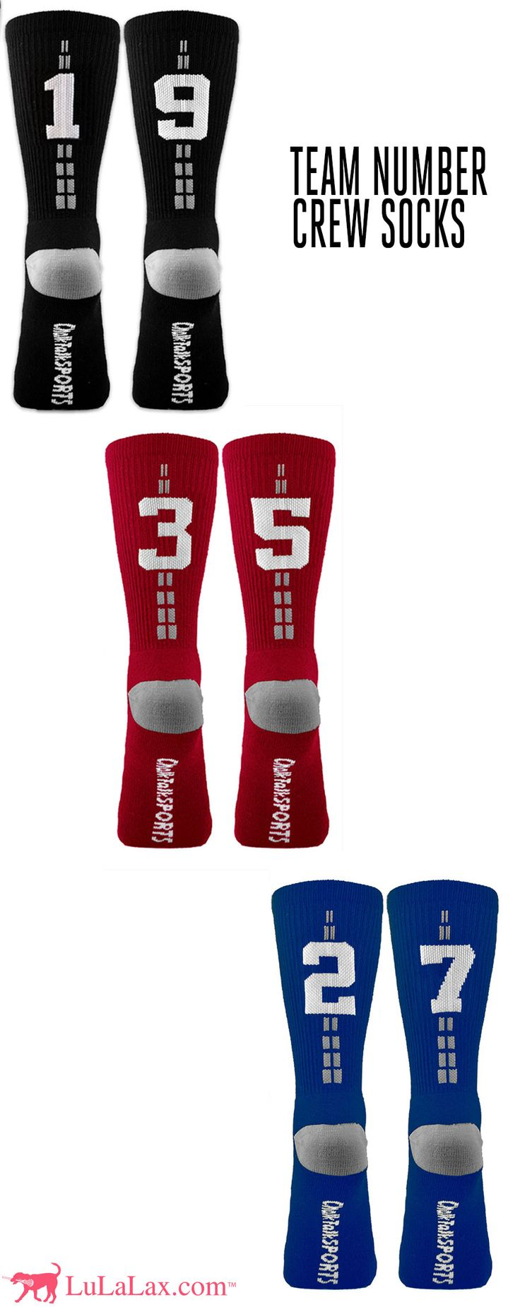 Our team number crew socks make a great team gift! Just choose your lacrosse number and color! We offer black, red, blue, green, pink, and safety neon yellow! Which will you choose? LuLaLax.com