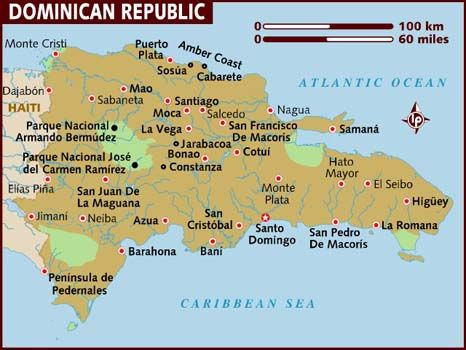 Map of Dominican Republic via Lonely Planet