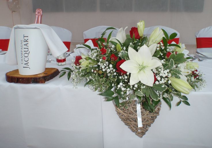 Red Eagle Rose and White Lily Top Table Decoration