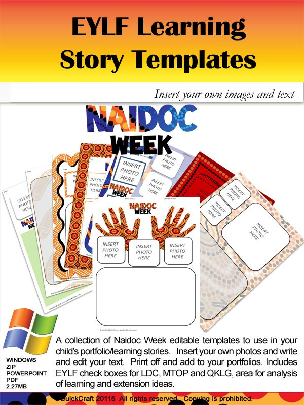 A collection of Naidoc Week editable templates to use in your child's portfolio/learning stories. Insert your own photos and write and edit your text. Print off and add to your portfolios. Includes check boxes for the learning outcomes a section for you to write you story, your analysis of learning and what next. Ready to print and put in your child's Learning Stories/Portfolios.