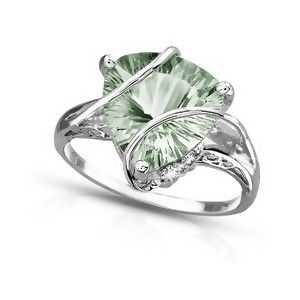 """Known by gemologists as prasiolite. The name comes from the Greek for """"leek-green."""" Prasiolite is a golden green quartz, somewhat similar in color to peridot or gold-green beryl."""