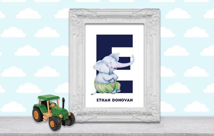 Elephant Nursery art, Safari Nursery Print, Baby Room Letters, Monogram Letters for Wall, PRINTABLE Nursery Art, PDF JPG by SeptemberCreationsAE on Etsy