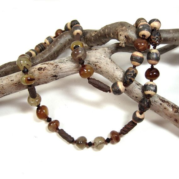 One of a Kind Over the Head Primitive Necklace, Hand Knotted Linen, Hand Made Ceramic Clay Beads