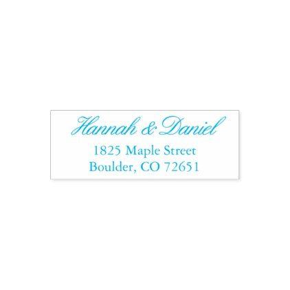 blue classic elegant script return address stamp script gifts