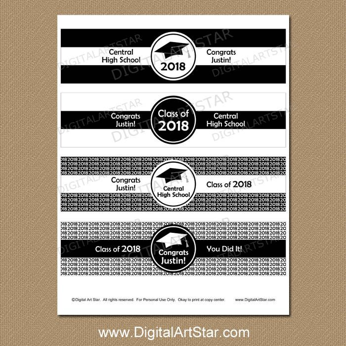 Black And White Graduation Water Bottle Labels Graduation Etsy Water Bottle Labels Graduation Graduation Center Pieces Bottle Labels