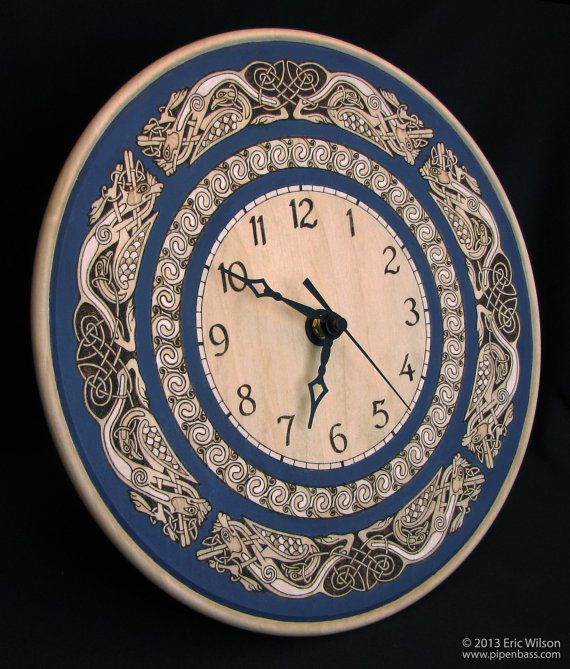 Celtic Knotwork Pyrography Wall Clock by PipenbassCeltic on Etsy, $118.00