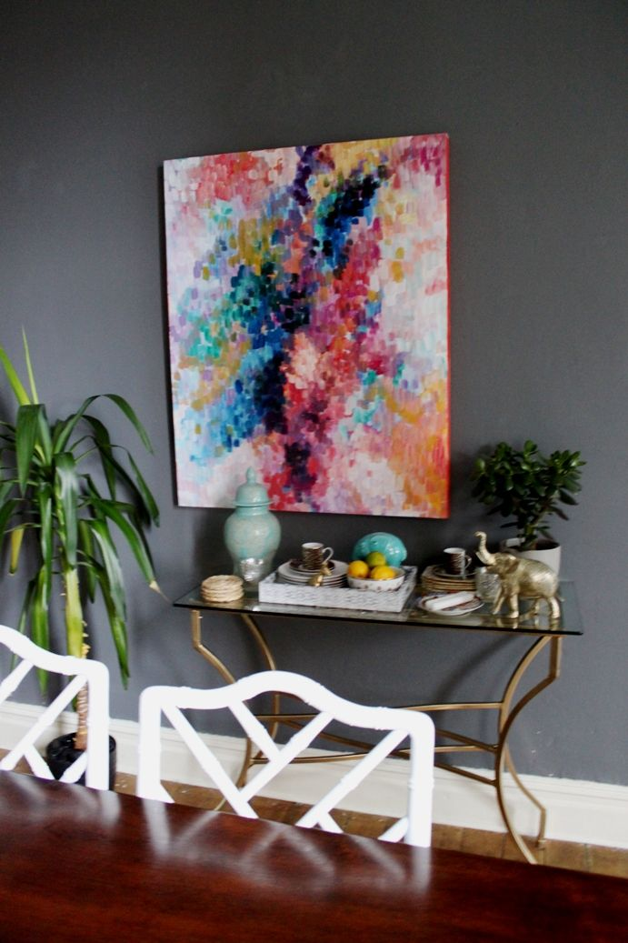DIY art project/Loving the color combo in this home. Traditional meets modern
