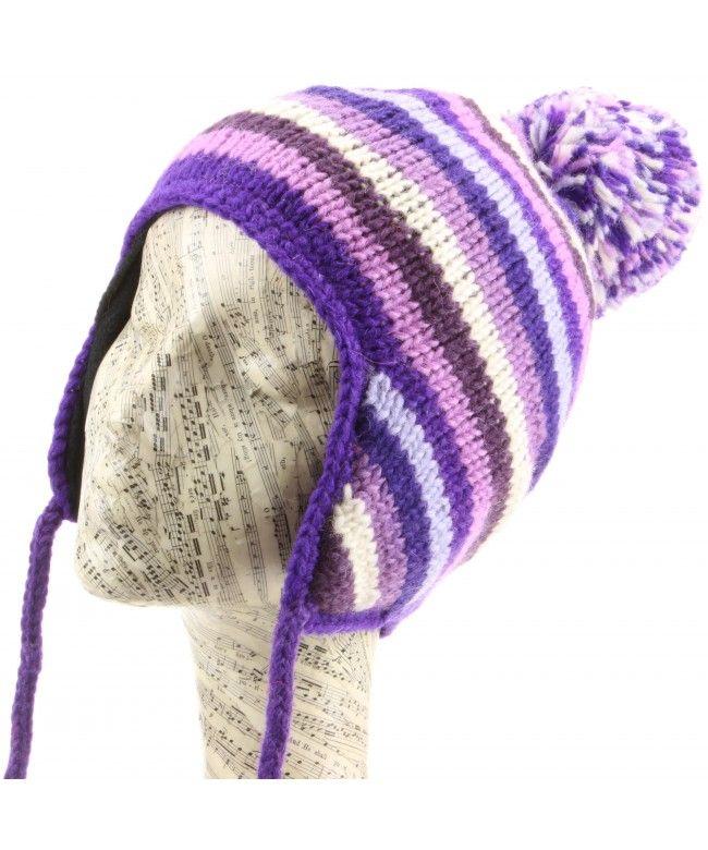 LOUDelephant Wool Knit Stripe Earflap Bobble Hat - Purples