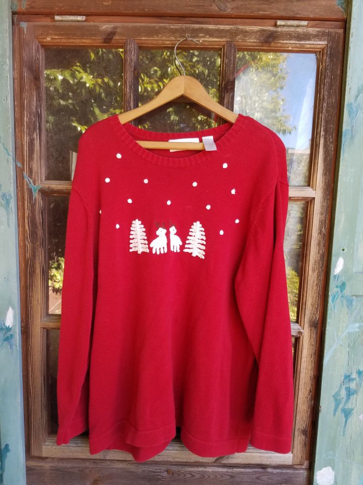 Reindeer and Christmas tress ugly christmas sweater by CaliforniaBlond on Etsy