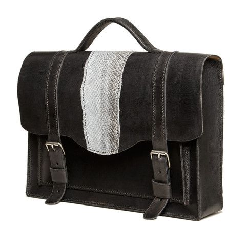 Medium size black briefcase with salmon fishleather decoration