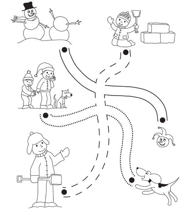 Pose ton crayon de couleur sur le point de d part d un des sentiers et trace un trait jusqu au - Dessin pour les enfant ...