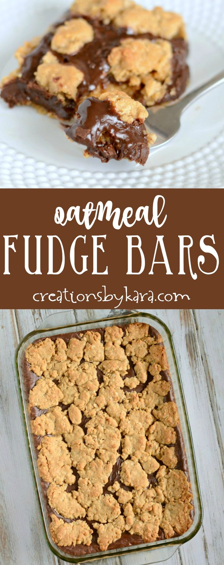 Everyone loves these decadent Oatmeal Fudge Bars. Layers of buttery oat crust with an ooey gooey layer of fudge in the middle. A must try bar recipe! via creationsbykara.com