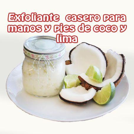 Exfoliante casero  para manos y pies de coco y lima