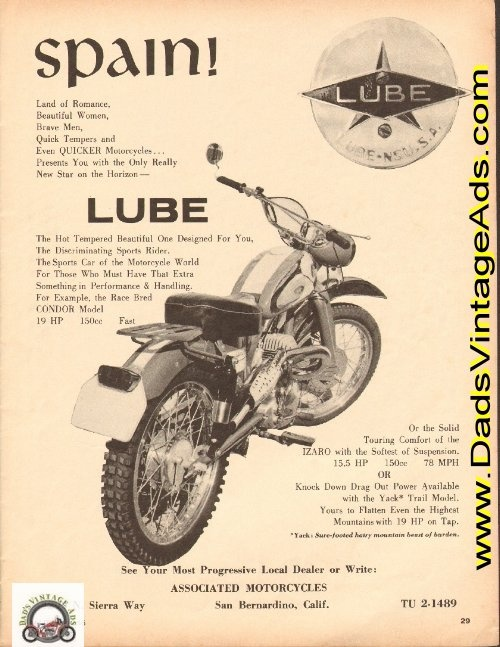 1965 Vintage Lube Condor 150cc Motorcycle from Spain