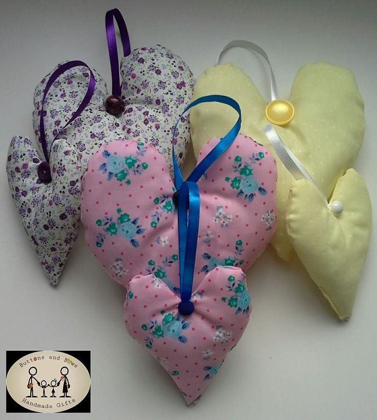 Fabric hanging hearts, look great on twiggy tree or door knob . Home décor.