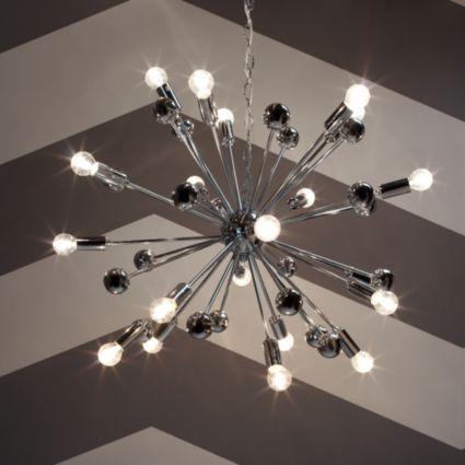 Komet Spherule Silver Chrome Effect 20 Lamp Pendant Ceiling Light
