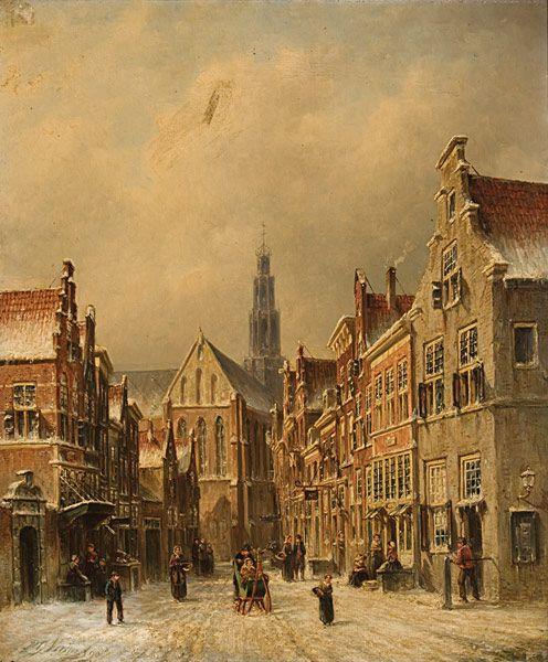 Petrus Gerardus Vertin - Winters stadsgezicht met op de achtergrond de St. Bavo te Haarlem (1)