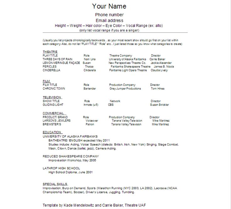 The 25+ best Acting resume template ideas on Pinterest Resume - tattoo artist resume